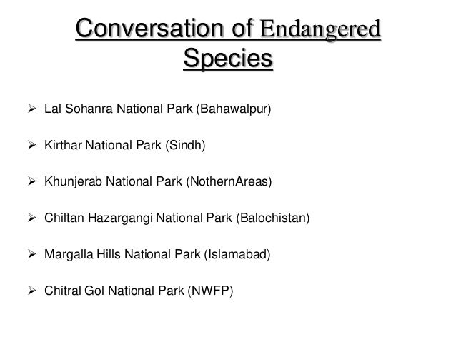essay on endangered species in pakistan Read this science research paper and over 88,000 other research documents endangered species currently in canada, there are 543 species at risk with another 13.