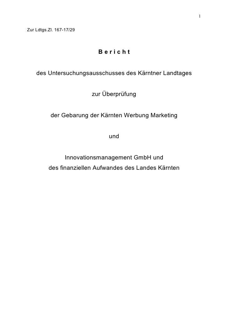Kärnten Werbung U-Ausschuss Endbericht