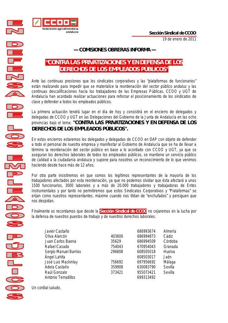 Sección Sindical de CCOO                                                                            19 de enero de 2011   ...