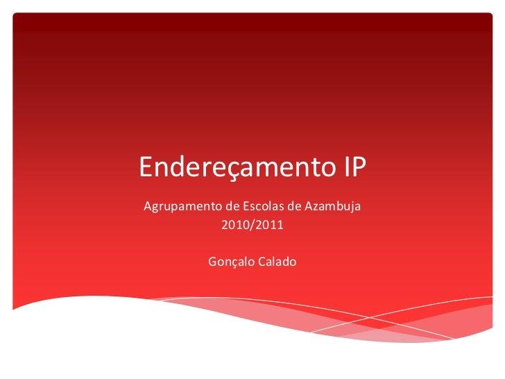 Endereçamento IP<br />Agrupamento de Escolas de Azambuja<br />2010/2011<br />Gonçalo Calado<br />