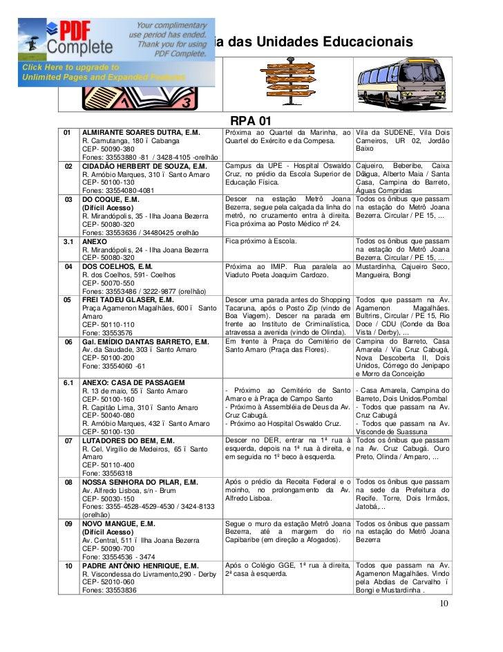 Endereços e pontos de referência das unidades e setores adm  secretaria de educação - Recife- Elaboração DIGP