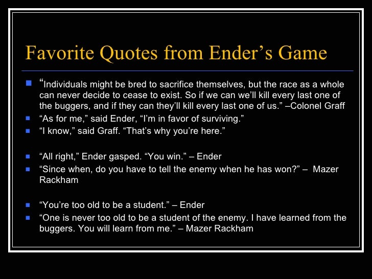 Enders Game Quotes enders game quiz show