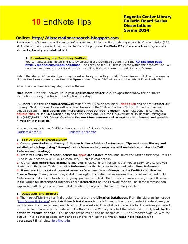 10 EndNote Tips  Regents Center Library Bulletin Board Series Dissertations Spring 2014  Online: http://dissertationresear...