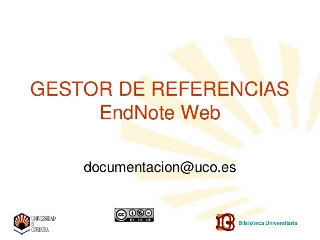 End Note Web para usuarios UCO