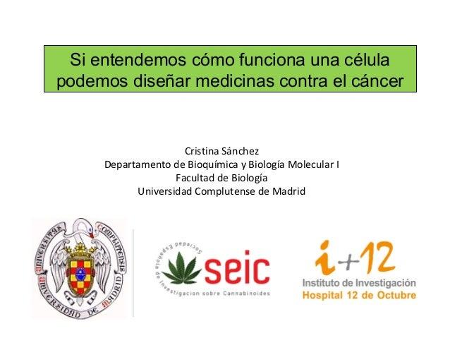 Si entendemos cómo funciona una célulapodemos diseñar medicinas contra el cáncer                     Cristina Sánchez     ...