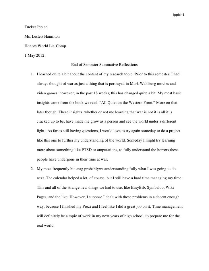 Ippich1Tucker IppichMs. Lester/ HamiltonHonors World Lit. Comp.1 May 2012                            End of Semester Summa...