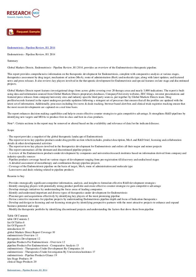 Endometriosis - Pipeline Review, H1 2014 Endometriosis - Pipeline Review, H1 2014 Summary Global Markets Directs, Endometr...