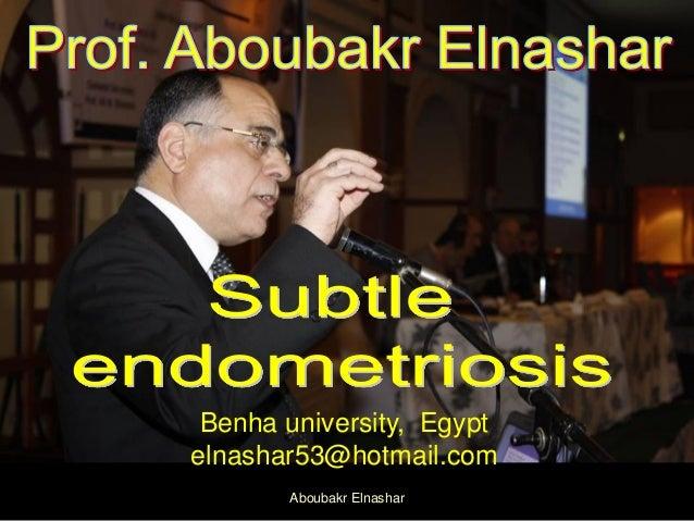 Benha university, Egypt elnashar53@hotmail.com Aboubakr Elnashar