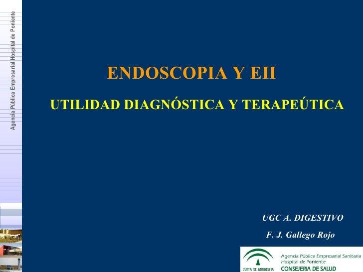 ENDOSCOPIA Y EII UTILIDAD DIAGNÓSTICA Y TERAPEÚTICA UGC A. DIGESTIVO F. J. Gallego Rojo  Agencia Pública Empresarial Hospi...