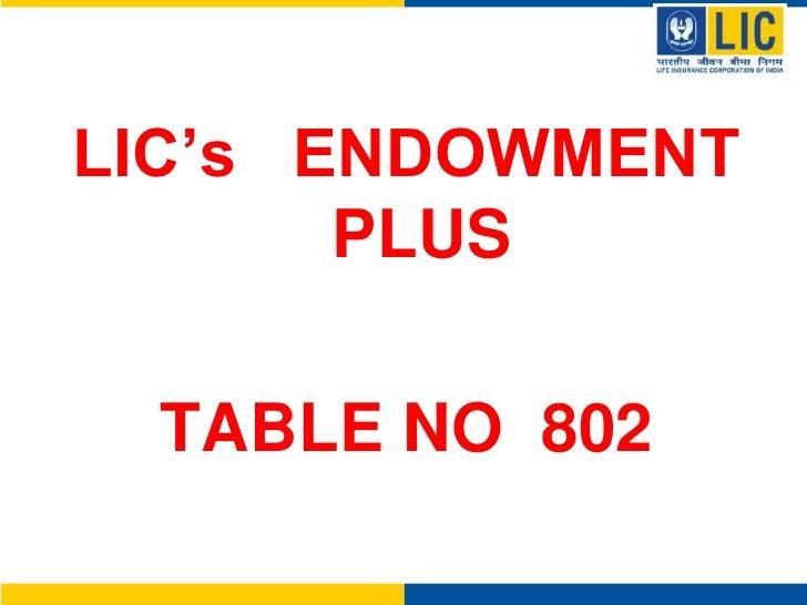 LIC's   ENDOWMENT   PLUS<br />TABLE NO  802<br />
