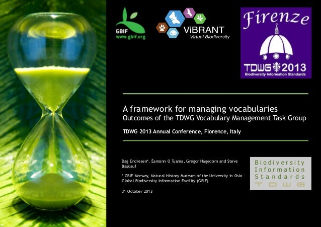 A framework for managing vocabularies  Outcomes of the TDWG Vocabulary Management Task Group TDWG 2013 Annual Conf...