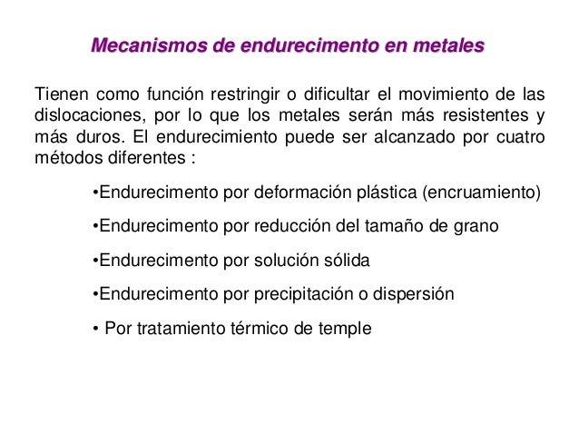 Mecanismos de endurecimentoMecanismos de endurecimento enen metalesmetalesTienen como función restringir o dificultar el m...