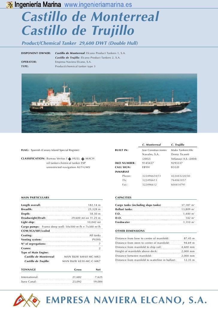Castillo de MonterrealCastillo de TrujilloProduct/Chemical Tanker 29,600 DWT (Double Hull)PRODUCTDISPONENT OWNER:         ...