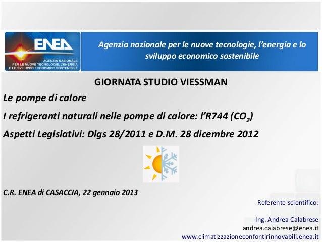 POMPE DI CALORE AD R744 - Centro Enea Casaccia (RM), 17-01-2013 calabrese