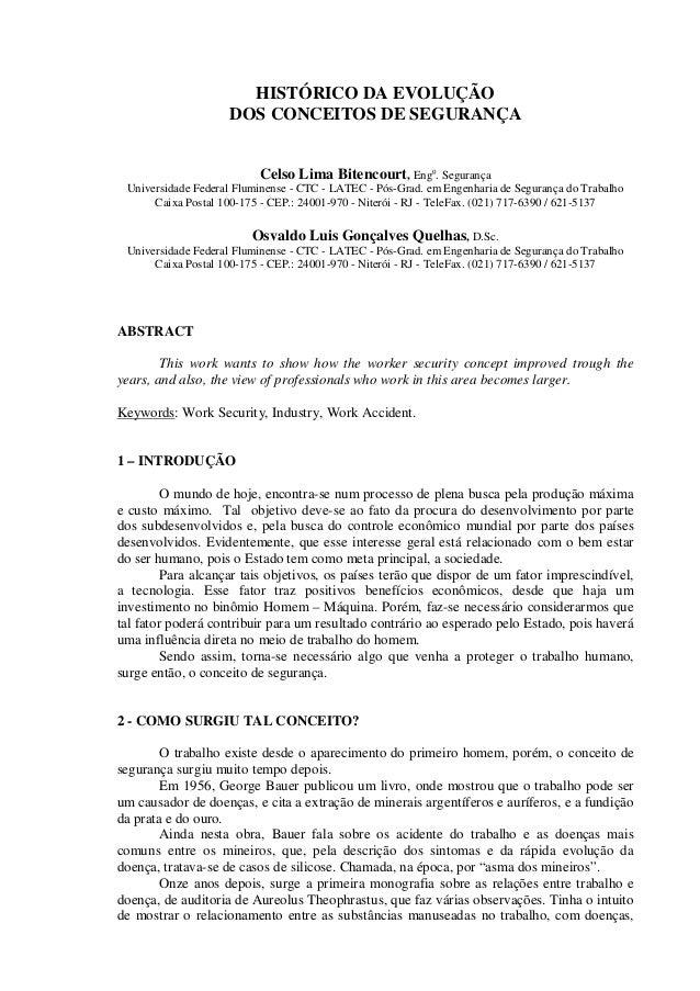 HISTÓRICO DA EVOLUÇÃO DOS CONCEITOS DE SEGURANÇA Celso Lima Bitencourt, Engo . Segurança Universidade Federal Fluminense -...