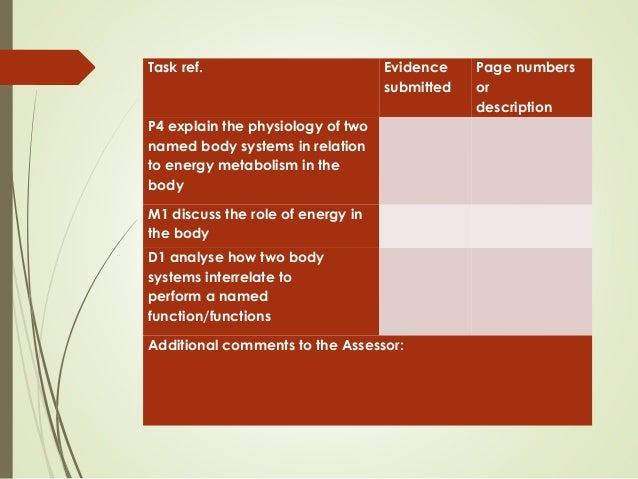 analyse how two body systems interrelate to perform a named function functions M1 discuss the role of energy in the body d1 analyse how two body systems  interrelate to perform a named function/ functions note: do not.