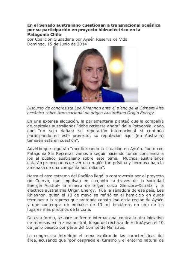 En el Senado australiano cuestionan a transnacional oceánica por su participación en proyecto hidroeléctrico en la Patagon...