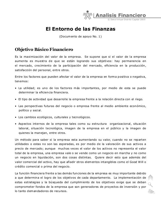 Analisis Financiero © Sena Virtual Distrito Capital 2005  El Entorno de las Finanzas (Documento de apoyo No. 1)  Objetivo ...