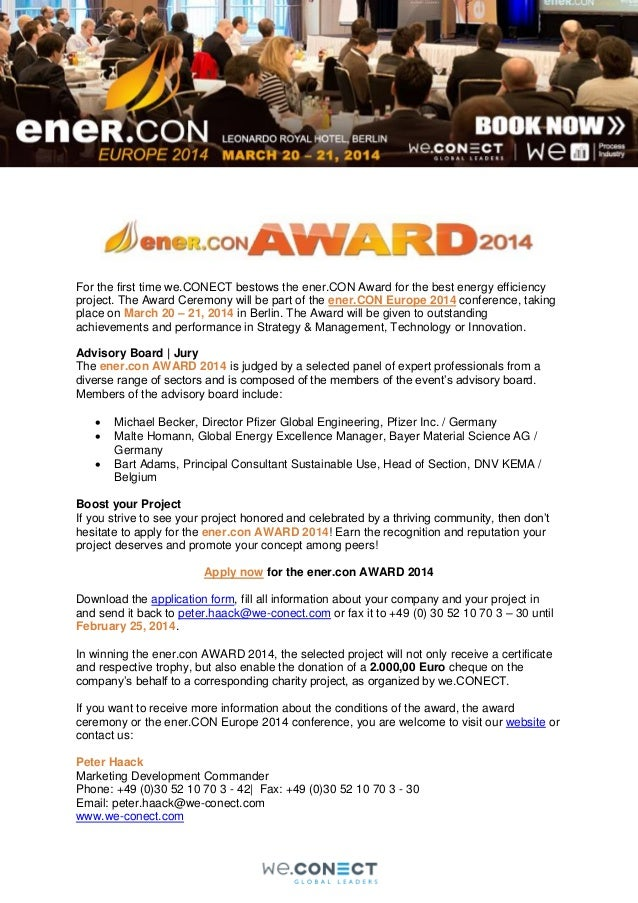 For the first time we.CONECT bestows the ener.CON Award for the best energy efficiency project. The Award Ceremony will be...
