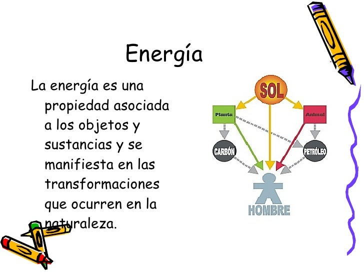 Energía <ul><li>La energía es una propiedad asociada a los objetos y sustancias y se manifiesta en las transformaciones qu...