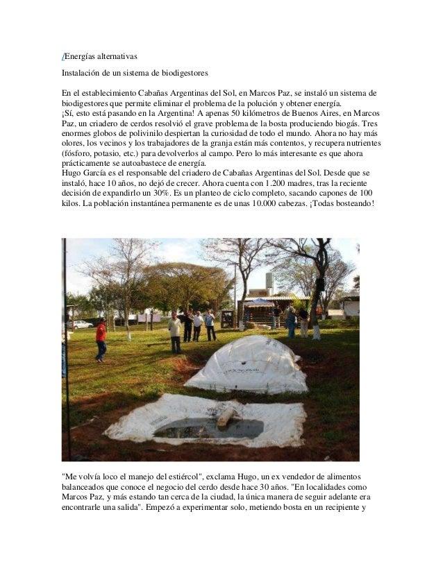 /Energías alternativas  Instalación de un sistema de biodigestores  En el establecimiento Cabañas Argentinas del Sol, en M...