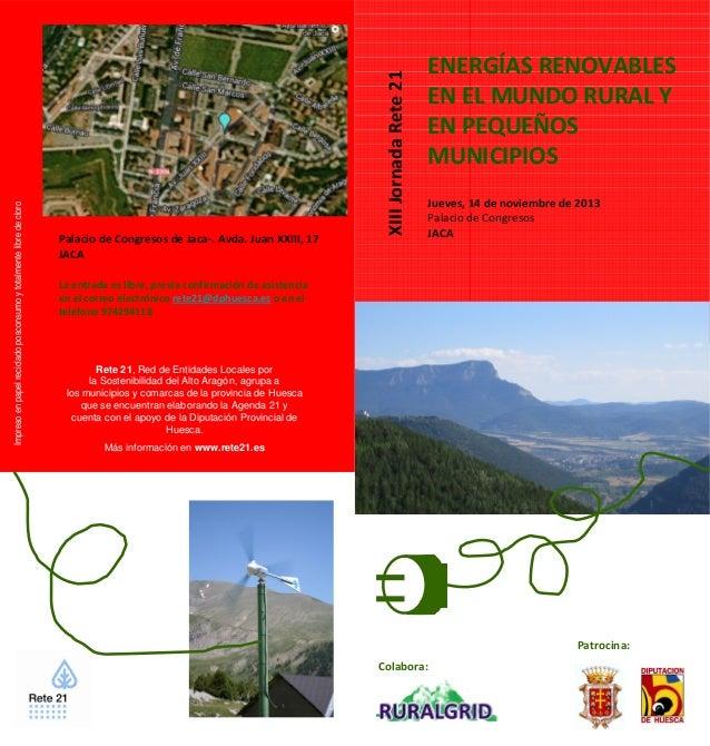 Folleto XIII Jornada Rete 21: Energías Renovables en el mundo rural y en pequeños municipios