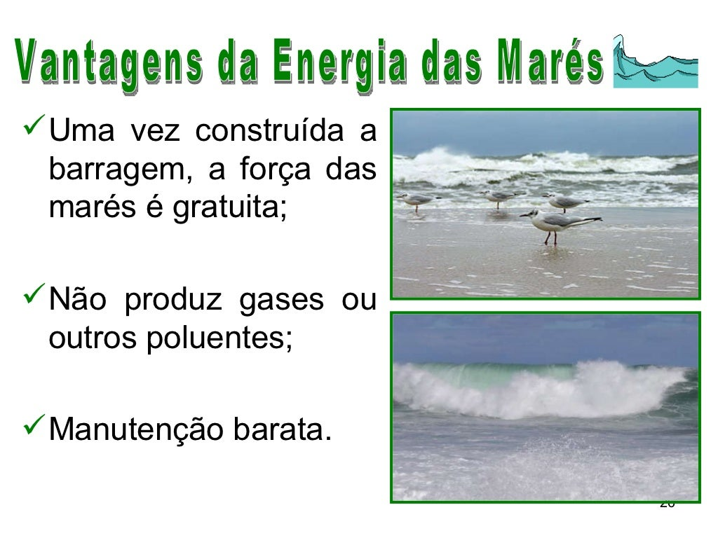 Vantagens da Energia das Marés <ul><li>Uma vez construída a barragem, a força das marés é gratuita; </li></ul><ul><li>Não ...