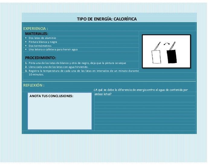 TIPO DE ENERGÍA: CALORÍFICAEXPERIENCIA : MATERIALES:   Dos latas de aluminio   Pintura blanca y negra   Dos termómetros...
