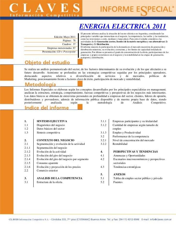 ENERGIA ELECTRICA 2011                                                El presente informe analiza la situación del sector ...