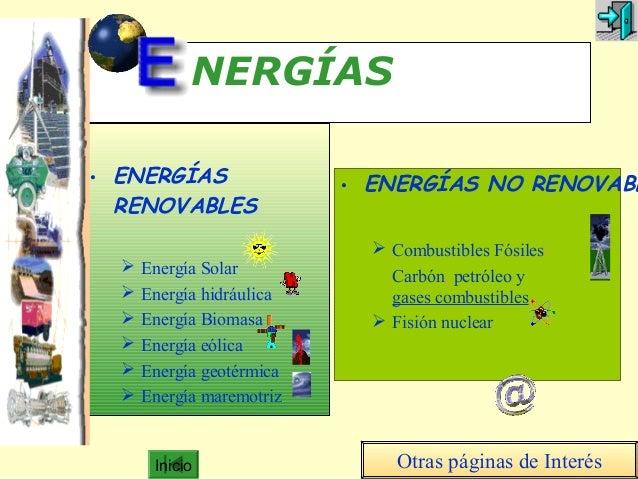 Inicio NERGÍAS • ENERGÍAS RENOVABLES  Energía Solar  Energía hidráulica  Energía Biomasa  Energía eólica  Energía geo...