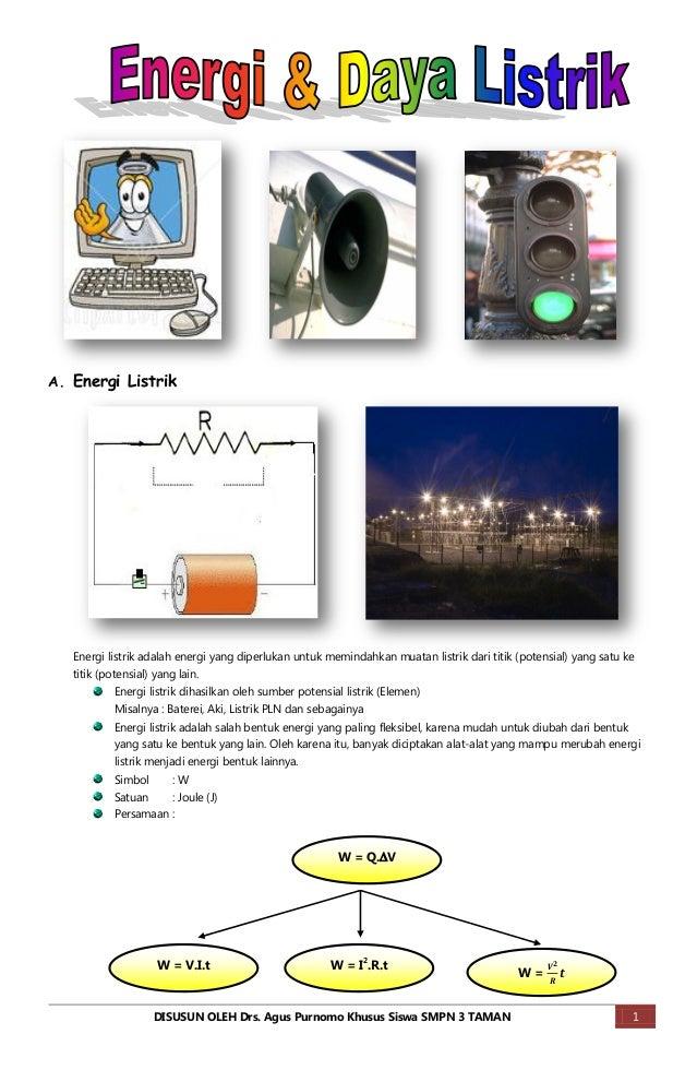 A. Energi Listrik   Energi listrik adalah energi yang diperlukan untuk memindahkan muatan listrik dari titik (potensial) y...
