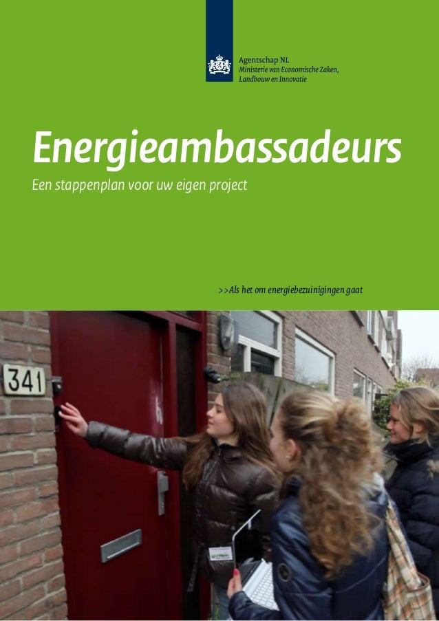 Energieambassadeurs Een stappenplan voor uw eigen project  >>Als het om energiebezuinigingen gaat