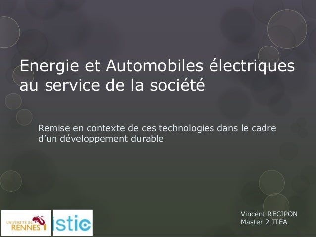 Energie electrique et automobiles électriques au service de la société