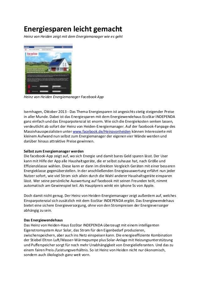 Energiesparen leicht gemacht Heinz von Heiden zeigt mit dem Energiemanager wie es geht  Heinz von Heiden Energiemanager Fa...