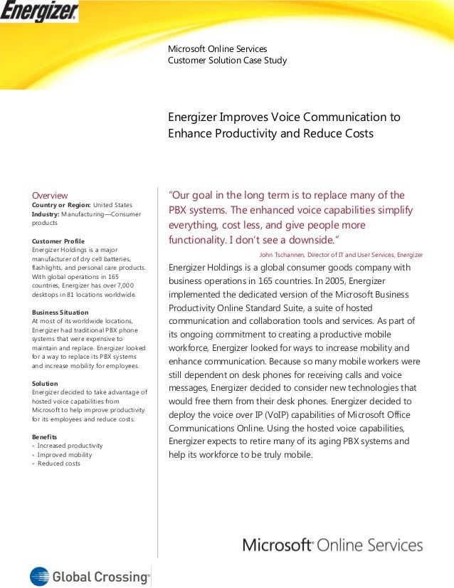 Microsoft Online Services Customer Solution Case Study Energizer Improves Voice Communication to Enhance Productivity and ...