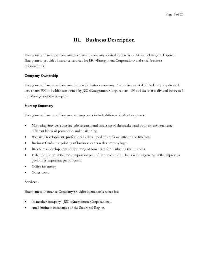Business plan insurance