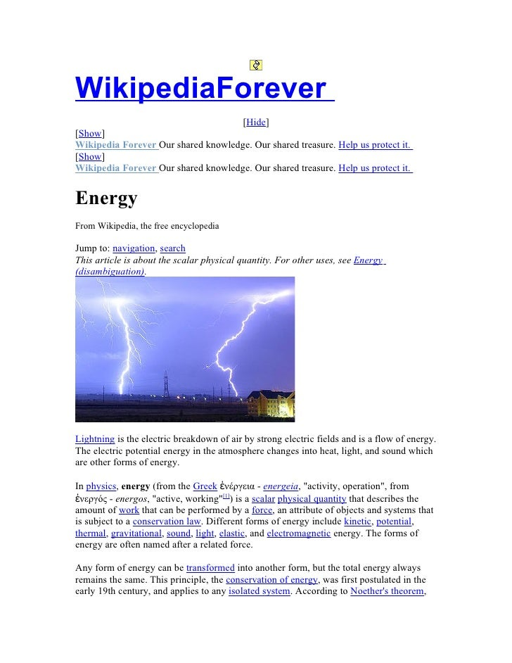 WikipediaForever                                      [Hide] [Show] Wikipedia Forever Our shared knowledge. Our shared tre...