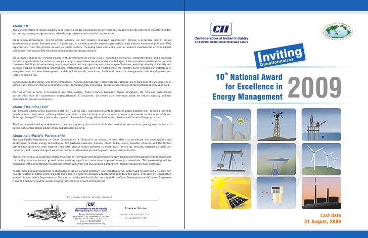 """National Award for Excellence in Energy Management"" on 18 & 19 November 2009."