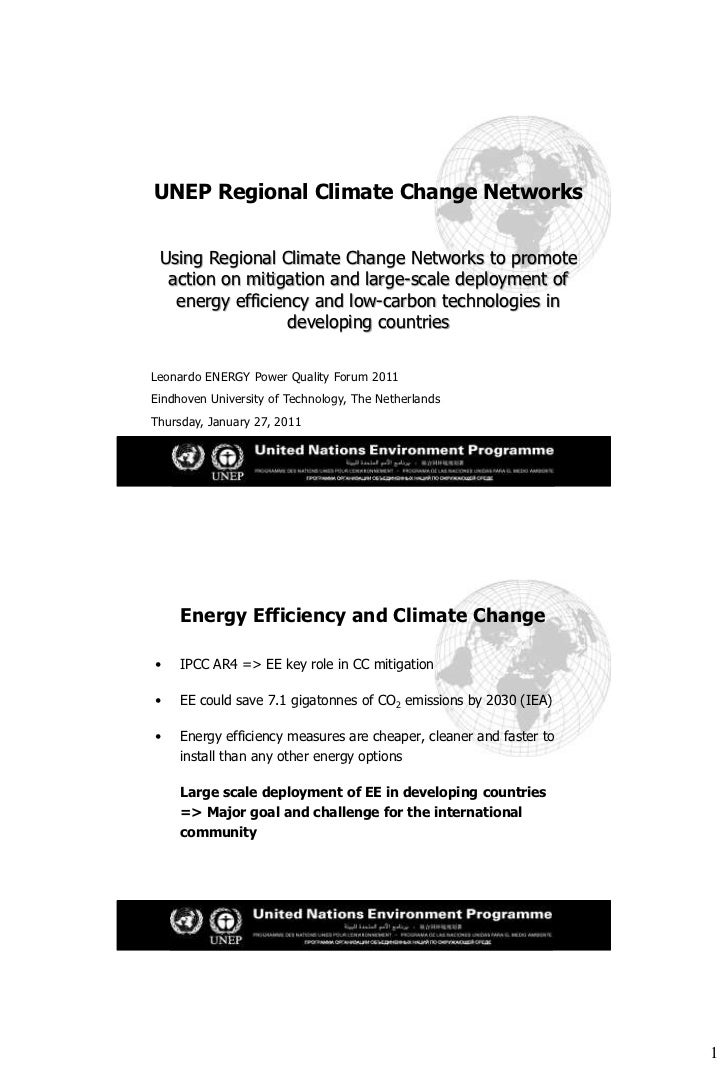 UNEP Regional Climate Change Networks Using Regional Climate Change Networks to promote  action on mitigation and large-sc...