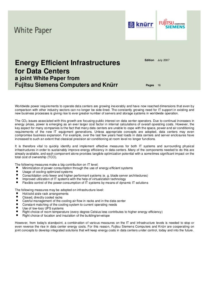 Edition   July 2007Energy Efficient Infrastructuresfor Data Centersa joint White Paper fromFujitsu Siemens Computers and K...
