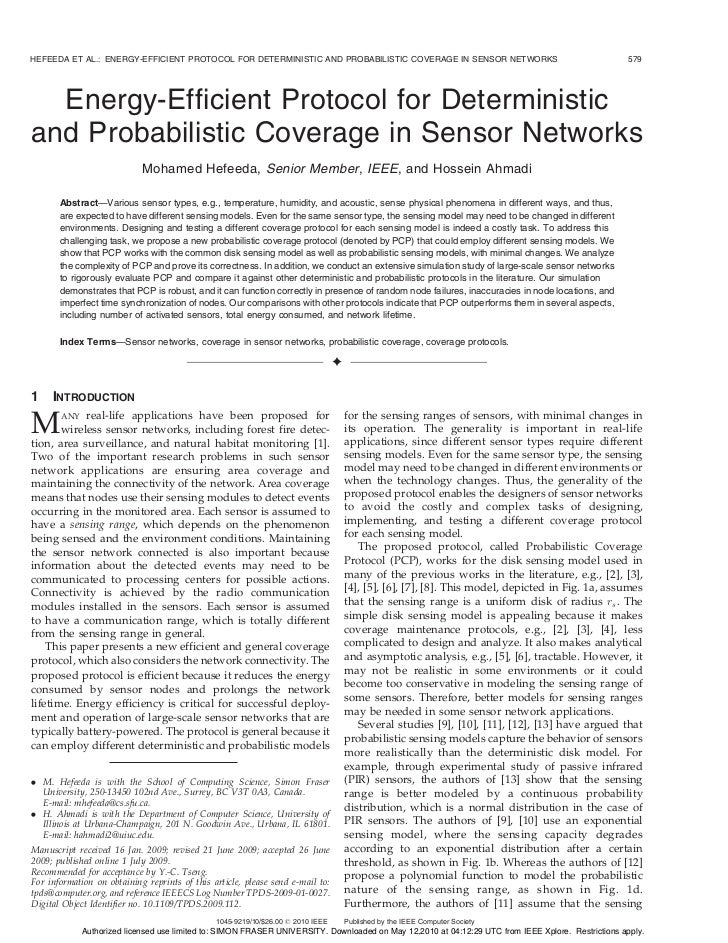 HEFEEDA ET AL.: ENERGY-EFFICIENT PROTOCOL FOR DETERMINISTIC AND PROBABILISTIC COVERAGE IN SENSOR NETWORKS                 ...