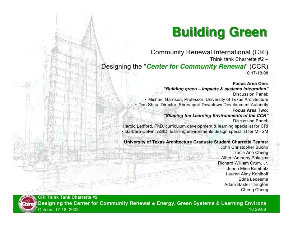 Building Green                                                   Community Renewal International (CRI)                    ...
