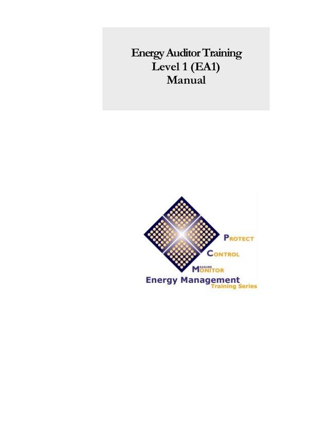 Energy Auditor Training Level 1 (EA1) Manual