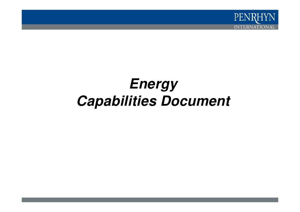 Energy Capabilities   Prospects