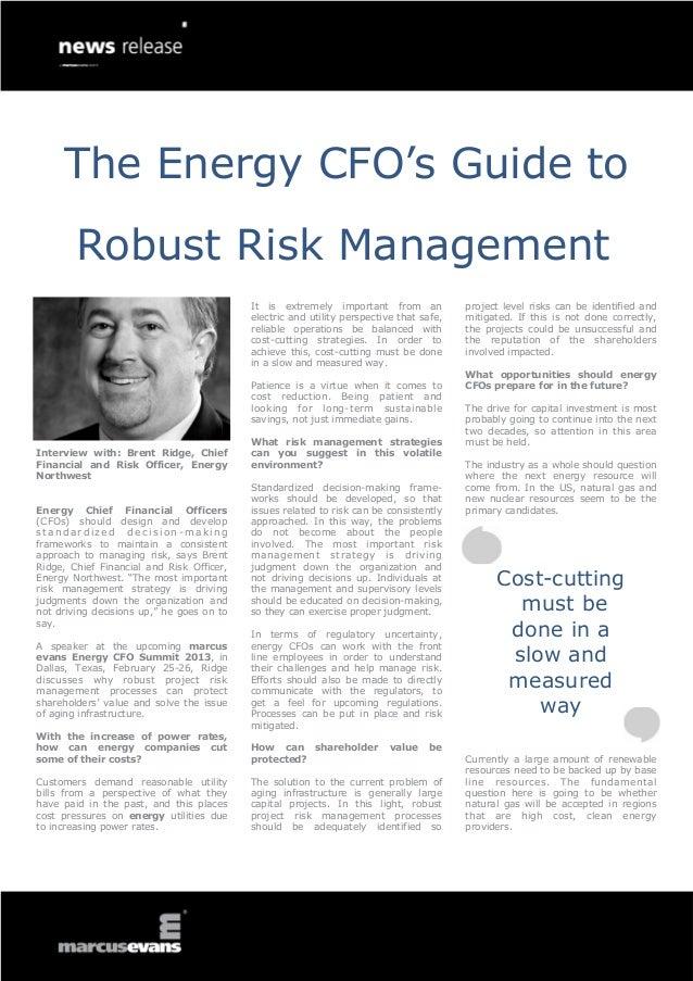The Energy CFO's Guide to Robust Risk Management - Brent Ridge, Energy Northwest