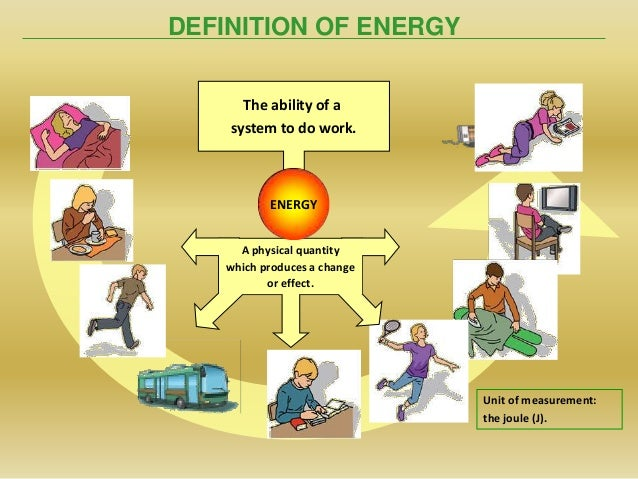 DEFINITION OF ENERGYThe ability of asystem to do work.A physical quantitywhich produces a changeor effect.ENERGYUnit of me...