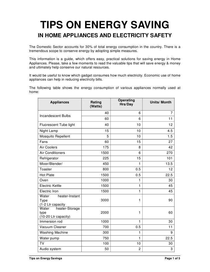 TIPS ON ENERGY SAVING     IN HOME APPLIANCES AND ELECTRICITY SAFETYThe Domestic Sector accounts for 30% of total energy co...