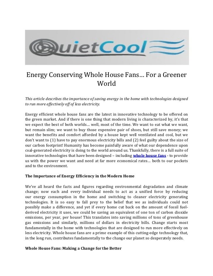 Energy Conserving Whole House Fans… For a Greener World