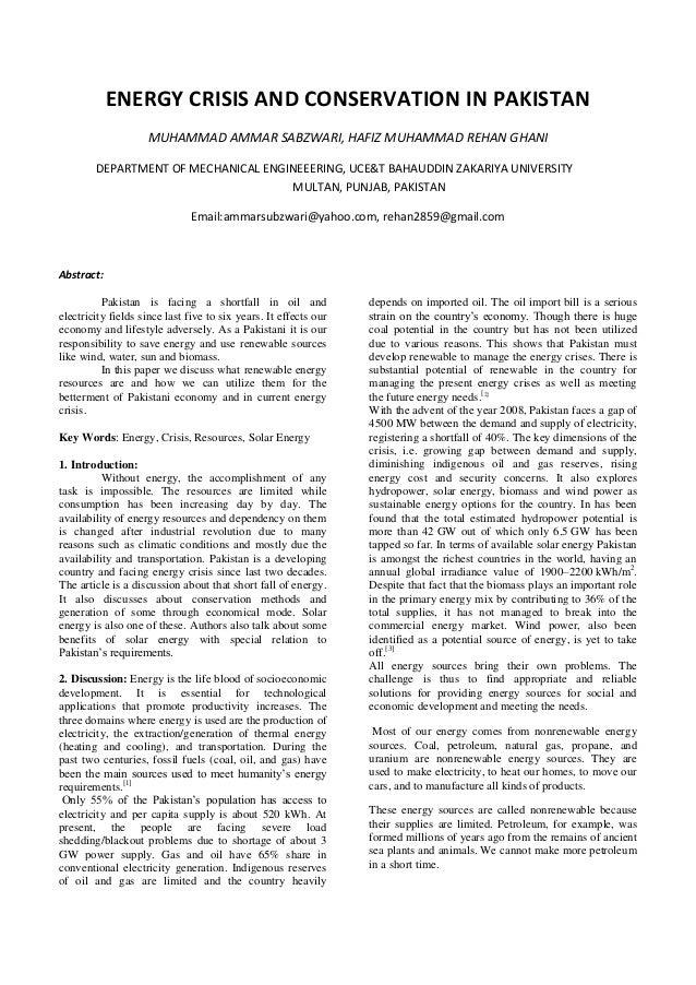 ENERGY CRISIS AND CONSERVATION IN PAKISTANMUHAMMAD AMMAR SABZWARI, HAFIZ MUHAMMAD REHAN GHANIDEPARTMENT OF MECHANICAL ENGI...