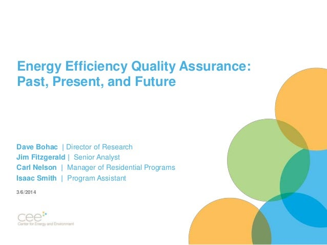 Energy Efficiency Quality Assurance: Past, Present, and Future Dave Bohac | Director of Research Jim Fitzgerald | Senior A...